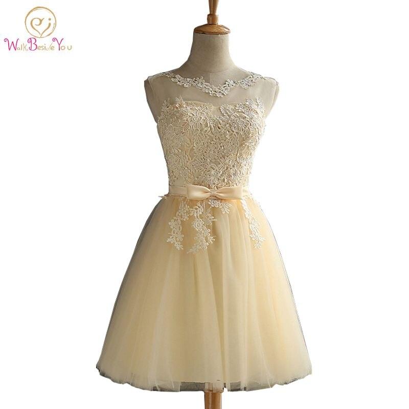 Walk Beside You Champagne   Bridesmaid     Dresses   Short Gray Lace Applique A-line Party Wedding   Dress   Robe Mariage Vestido De Noiva