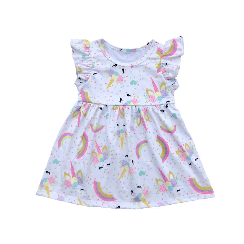 Kid Girl Unicorn Dress Flutter Sleeve Unicorn Party Dress for Toddler Girls 2 to 10 years Summer Milk Silk Boutique ClothesKid Girl Unicorn Dress Flutter Sleeve Unicorn Party Dress for Toddler Girls 2 to 10 years Summer Milk Silk Boutique Clothes