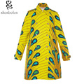 2016 fashion printing wax cotton dust coat collar women straight jacket with the cloth