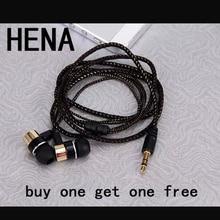 HENA Buy one get one free MP3 MP4 Wiring Subwoofer Headset Rope Earplug bassbuds Earphone Braided Rope Wire Cloth earphones
