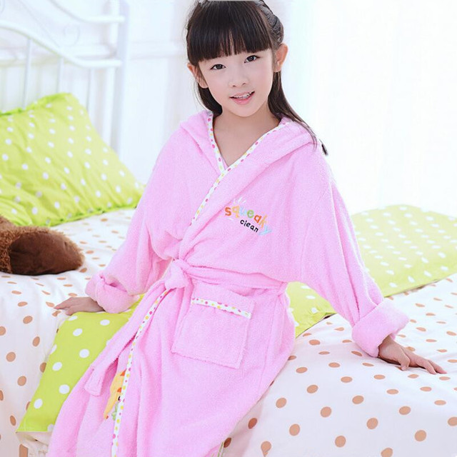a4fe04e9ea9d2 US $22.67 38% OFF|girls pink robes kids bathrobe children's bathrobes  yellow bath robe child cotton roupao pancho hooded towel blue pajamas-in  Robes ...