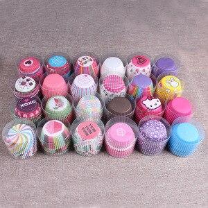 Image 2 - 100PCS 머핀 종이 컵케잌 래퍼 베이킹 컵 케이스 머핀 상자 케이크 컵 장식 도구 주방 케이크 도구