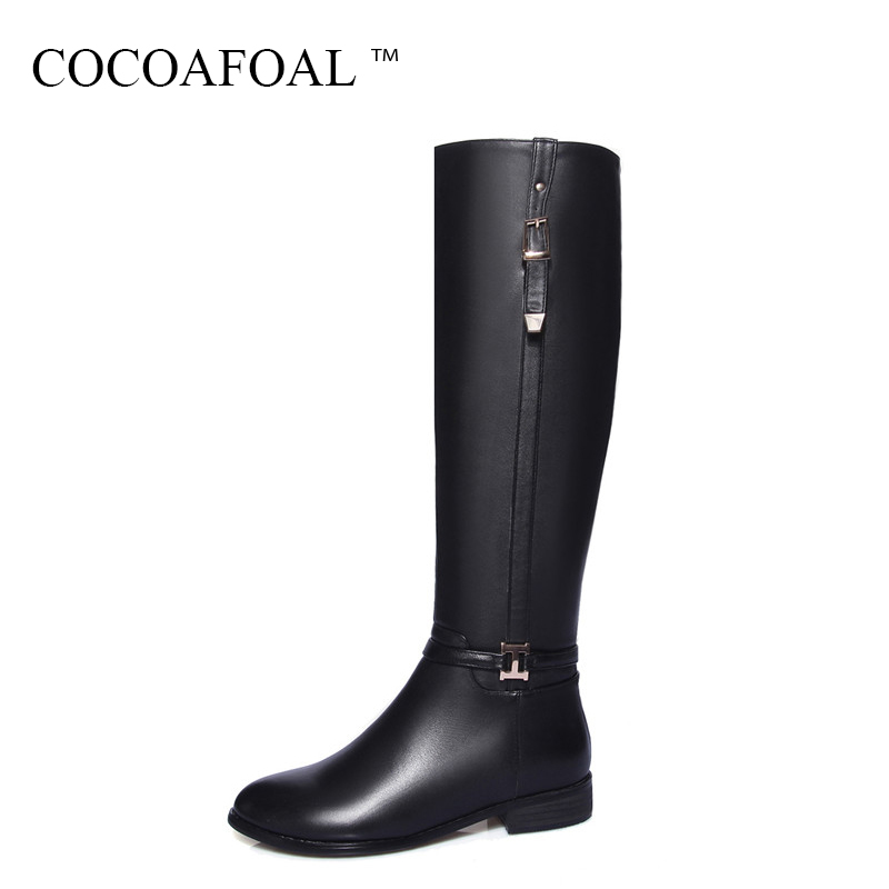 COCOAFOAL Women Genuine Leather Knee High Boots Winter Black High Heeled Shoes Plus Size 33 Sexy Chelsea Knee High Boots Boots 20cm pole dancing sexy ultra high knee high boots with pure color sexy dancer high heeled lap dancing shoes