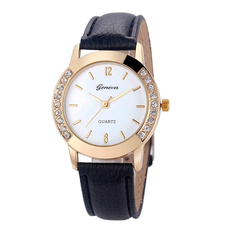Горячая Женева часы женщины Моды wtach Кожаный ремешок Кристалл Кварцевые Наручные Часы женские Часы причинные Часы черный белый розовый