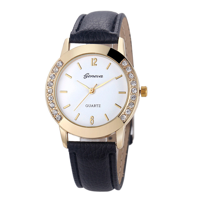 Hot Geneva watches women Fashion wtach Leather band Crystal Quartz Wristwatch wo