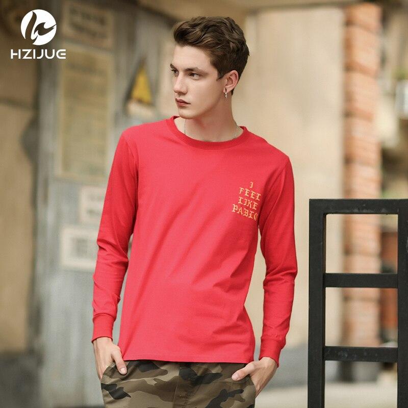HZIJUE 2018 neue mens hip hip stil ich fühle mich wie pablo kanye langarm casual tops t-shirt langarm hiphop t-shirt für männer