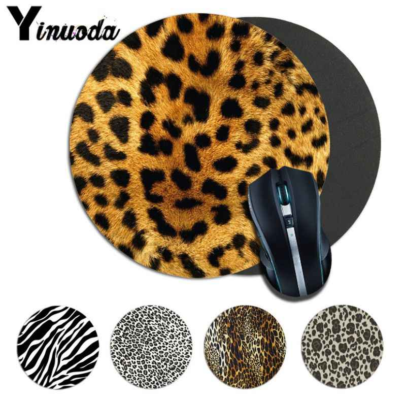 Yinuoda Your Mats Leopard Print Gaming round Mouse Pad Computer Mats Size for 22*22cm round mousepad Rubber Rectangle Mousemats