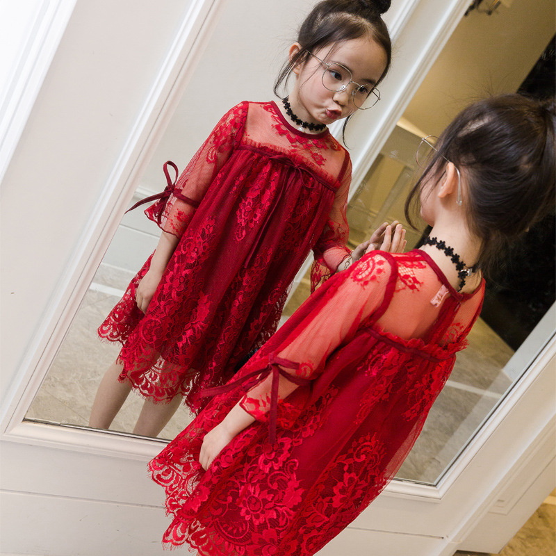 2017 New Girls Summer Lace Dress Fashion Kids Princess Dress Toddler Beautiful Dress Children Toddler Dress,3-12Y faux pearl teardrop layered necklace