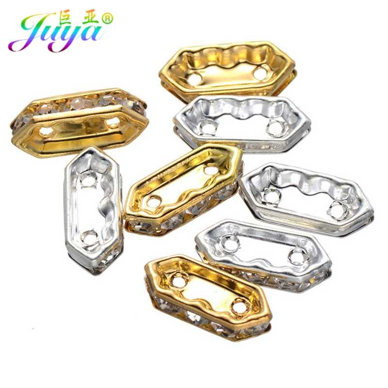 50pcs/lot Jewelry Findings Gold/Silver Metal Two Hole Five Clear Cz Rhinestones Rhombus Shape DIY Metal Spacer Beads Accessories