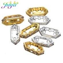Juya-Lote de 50 unidades de cuentas separadoras de Metal con forma de rombo de dos agujeros, con diamantes de imitación de circonia cúbica, para fabricación de joyas hechas a mano