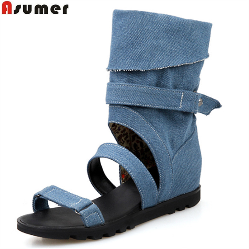 ASUMER 2018 summer hot sale new arrive women boots fashion buckle mid calf classic canvas boots sexy lady prom boots stylish women s mid calf boots with solid color and fringe design