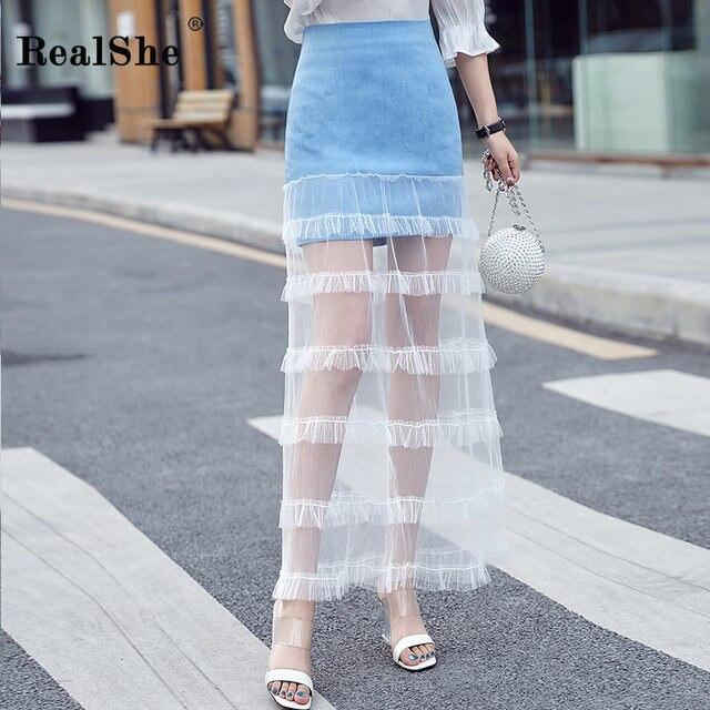 RealShe Hot Summer Elegant Skirt Womens High Waist Zipper Mesh Patchwork Long Skirt Ladies Casual Streetwear Skirts Jupe Femme