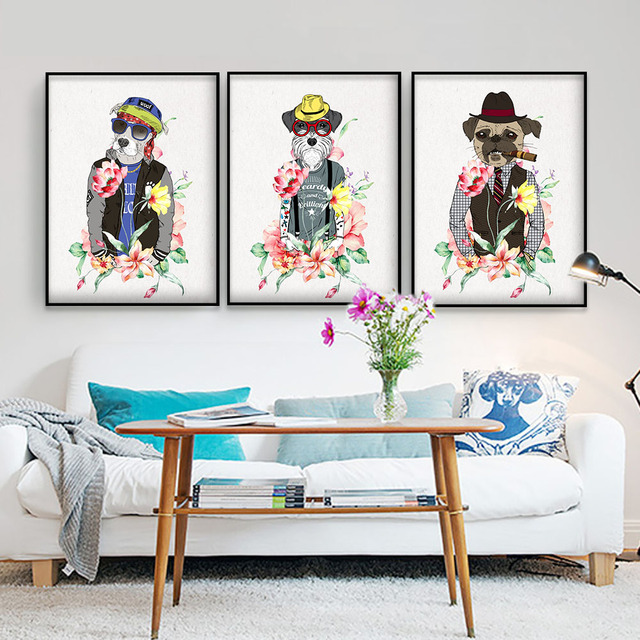 3 P Wall Art modern Dog painting poster canvas Painting Prints ...