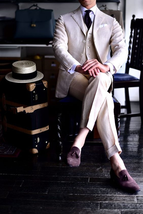 2017 Latest Coat Pant Designs Champagne Tan Linen Men Suit Formal Slim Fit Beach Simple Blazer Men Tuxedo 3 Piece Vestidos WU2 ...