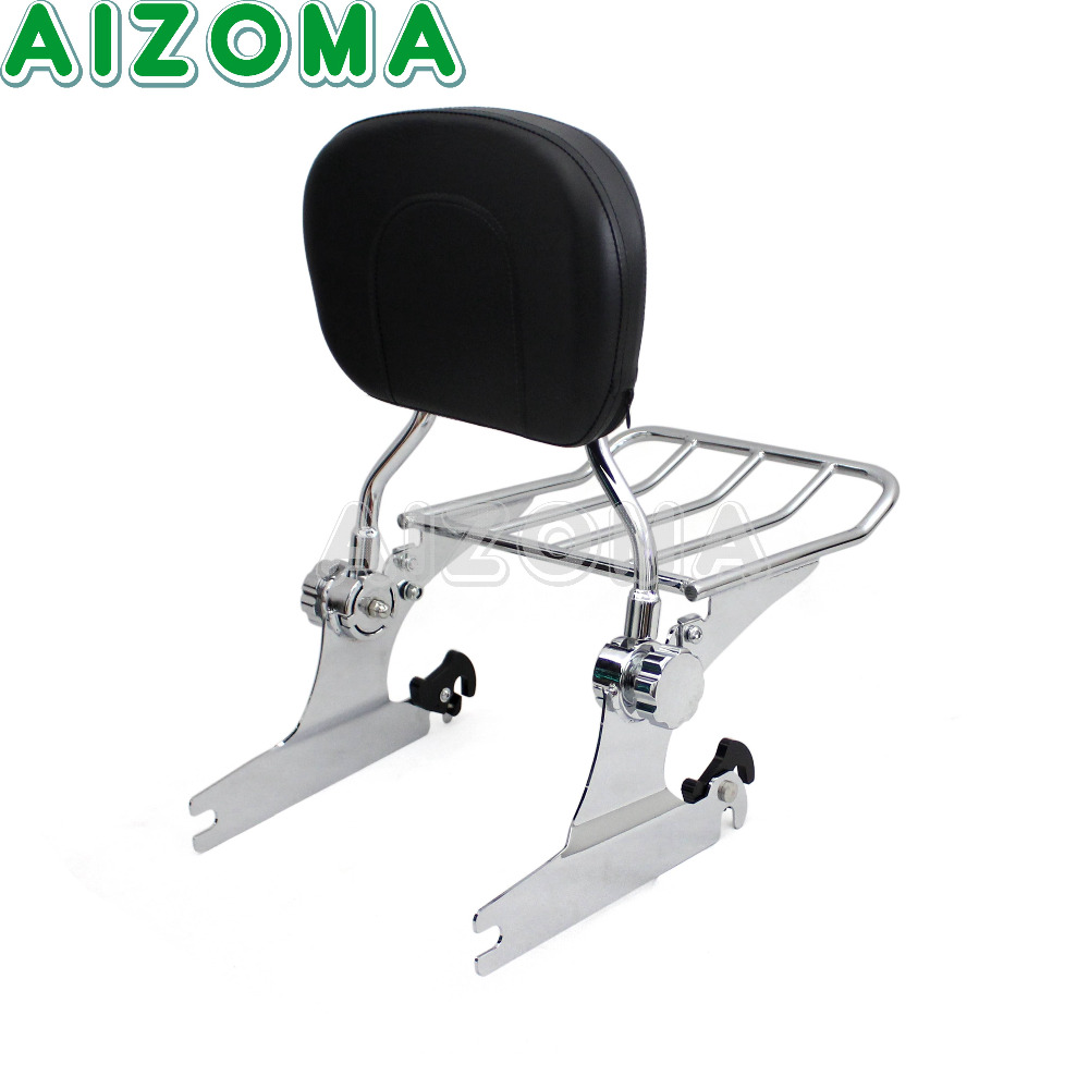 Motorcycle Rear passenger Backrest Sissy Bar w/Detachable Chrome Luggage Rack For 05-14 Harley Touring Softail Deluxe FLSTN motorcycle bike parts custom rear luggage rack mount pole with american usa chrome flag for harley