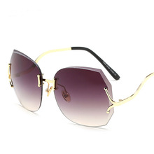 Steampunk Goggles Women Carter Curved Sunglasses Female Aviator Lunette Rimless Sun Glasses Luxury Brand Driver Pink Eyeglasses