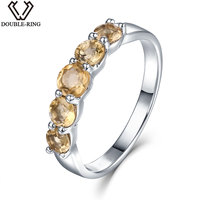 DOUBLE R 1.16ct Natural Citrine Gemstone 925 Sterling Silver Rings