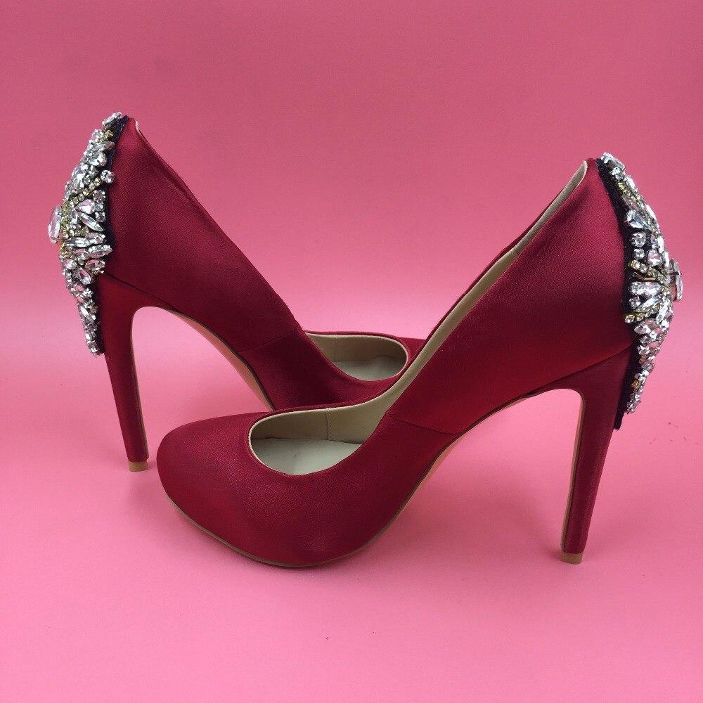 Satin Red Rhinestones Wedding Pump Shoes Platform Round Toe Slip-on Women Shoes Stilettos High Heels Summer Ladies Party Shoes