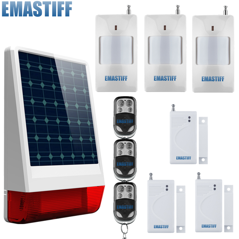 Wireless Solar Flash Strobe Siren 433MHz, Also it is a spot alarm system, can add 99 wireless detectors high quality solar spot alarm system kit 433mhz wireless outdoor siren with bright flash to make powerful warning