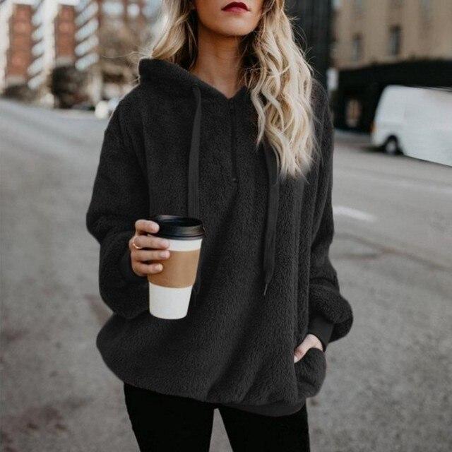 2019 Winter Women Sherpa Hoodies Oversized Fleece Hooded Pullover Loose Fluffy Coat Warm Streetwear Hoodies 2