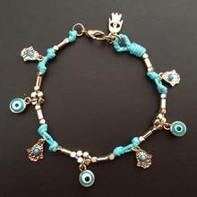 Лидер продаж, дизайнерский золотой браслет ручной работы Хамса Фатима, голубой турецкий браслет с большим глазом, вечерние ювелирные изделия