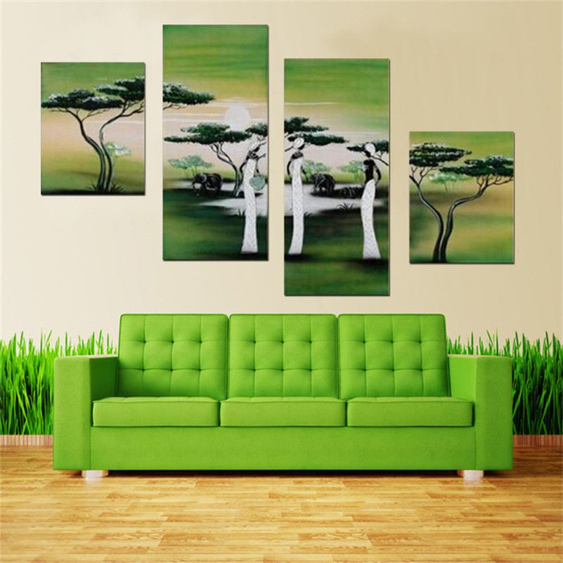 100%Hand Painted 4 pcs/set Art Green Wall Oil Painting On Canvas Abstract Landscape harvest Decorative Art work