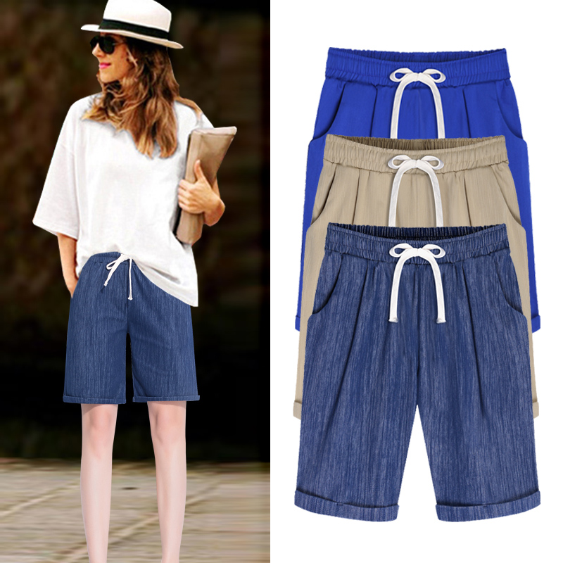 2018 summer new women   shorts   jeans plus size 6XL loose elastic female denim   shorts   lady casual half length top quality
