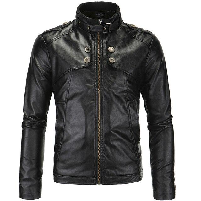 hot sale fashion men leather jacket slim fit faux pu slim fit four buttons design 2 colors M-4XL JPYG67