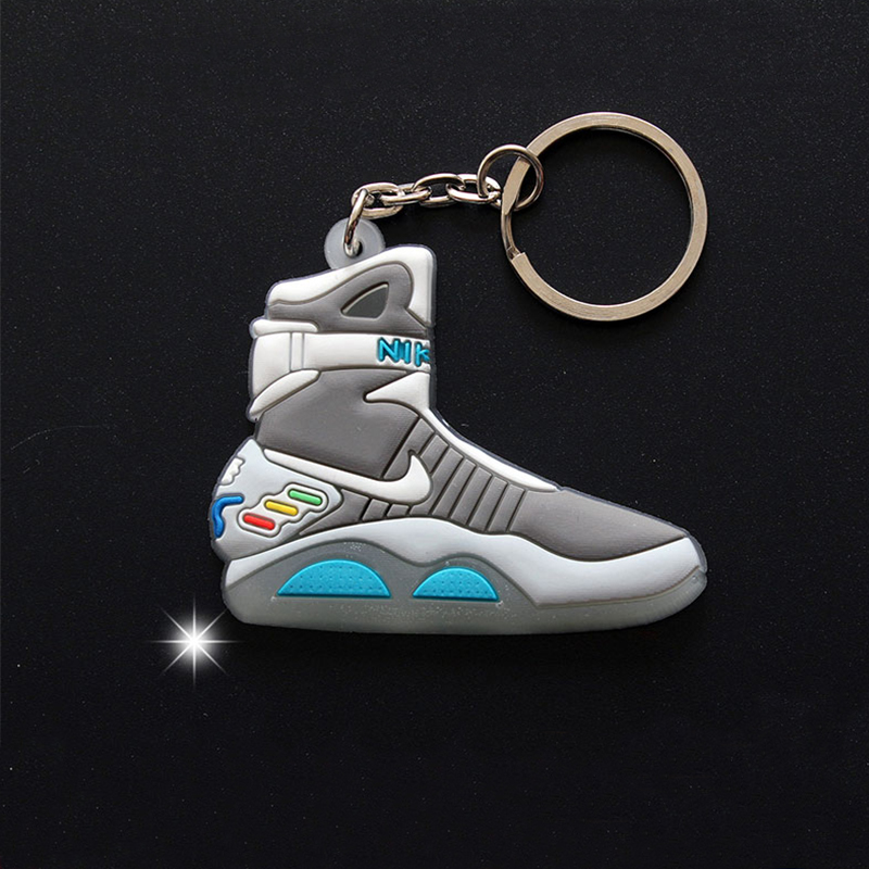15Pcs/Lot Back To The Future II Glow In The Dark Air Mag Key Chain For Man Woman Sneaker NMD AJ Keychain Fashion Pendant Toys
