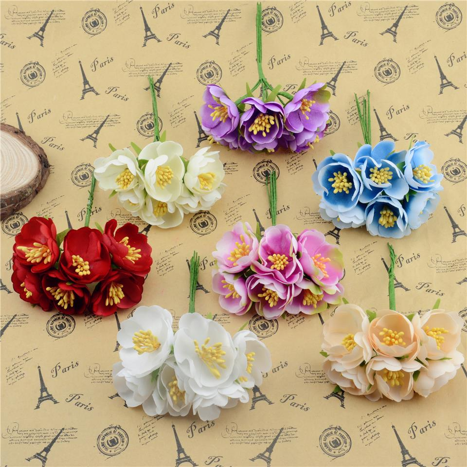 Silk cherry blossoms flowers promotion shop for promotional silk 60pcslot cheap 3cm silk artificial cherry blossoms flowers for wedding decoration 2016 hot diy rose scrapbooking craft flores dhlflorist Image collections