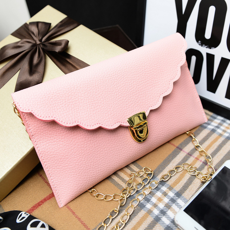 Ladies Handbag Long Chain Female Bag 14 Colors Lmitation Leather Shoulder Bag Fashion Wallet Metal Chain Lady Handbag Wholesale 2017 women bag cowhide genuine leather fashion folding handbag chain shoulder bag crossbody bag handbag party clutch long wallet