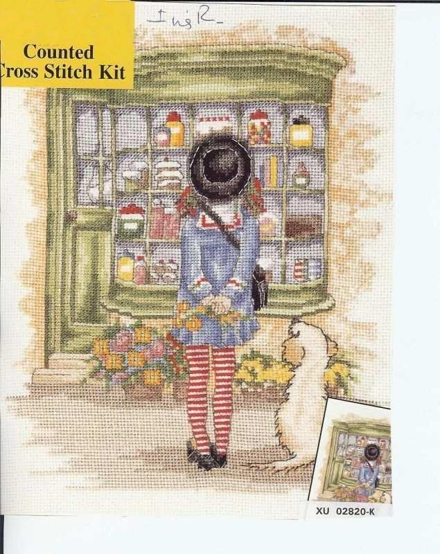 Top Quality Beautiful Lovely Counted Cross Stitch Kit Window Shopping Shopper Little Girl And Dog Puppy
