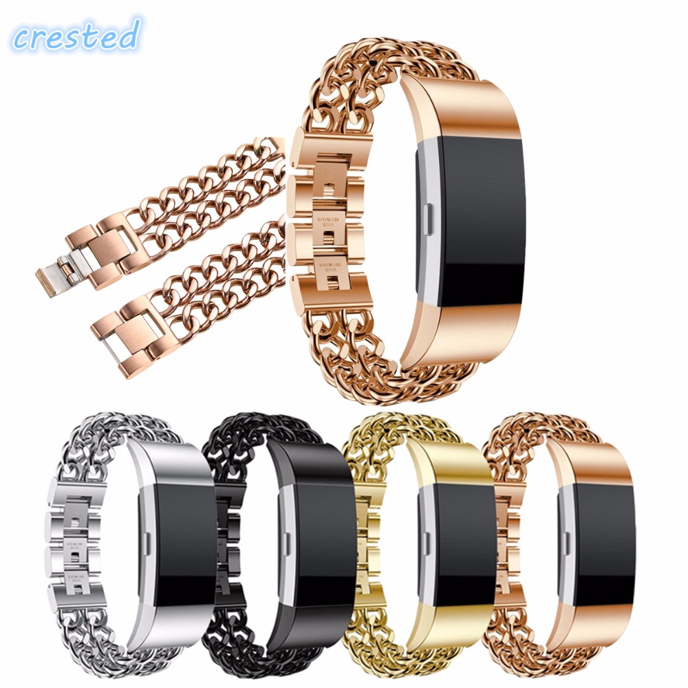CRESTED Stainless Steel Band for Fitbit Charge 2 Double Chains Style Bracelet Replacement Band Metal Watch Bands for Charge 2 quality bracelet stainless steel strap 18mm for fitbit charge 2 smart watch metal band with adapter