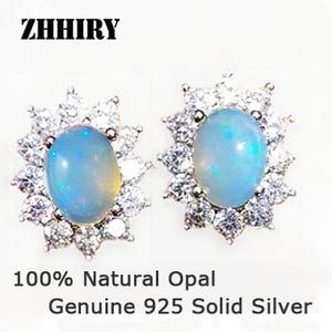 ZHHIRY Echtes Feuer Opal Earring Solid 925 Sterling Silber Naturstein Ohrringe Frauen Feinen Edelstein Schmuck