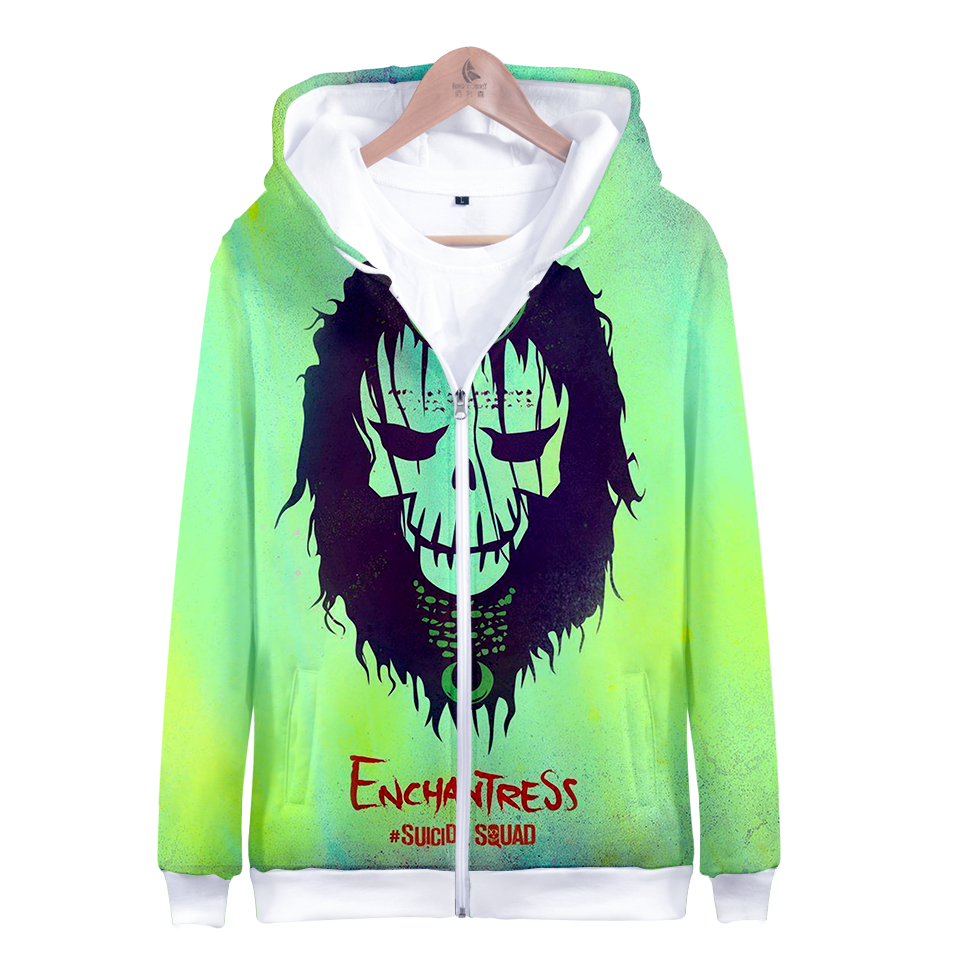 2018 hot men and women Suicide squads 3D pattern printing fashion trend casual With hood Zipper sweatshirt plus size XXS 4XL