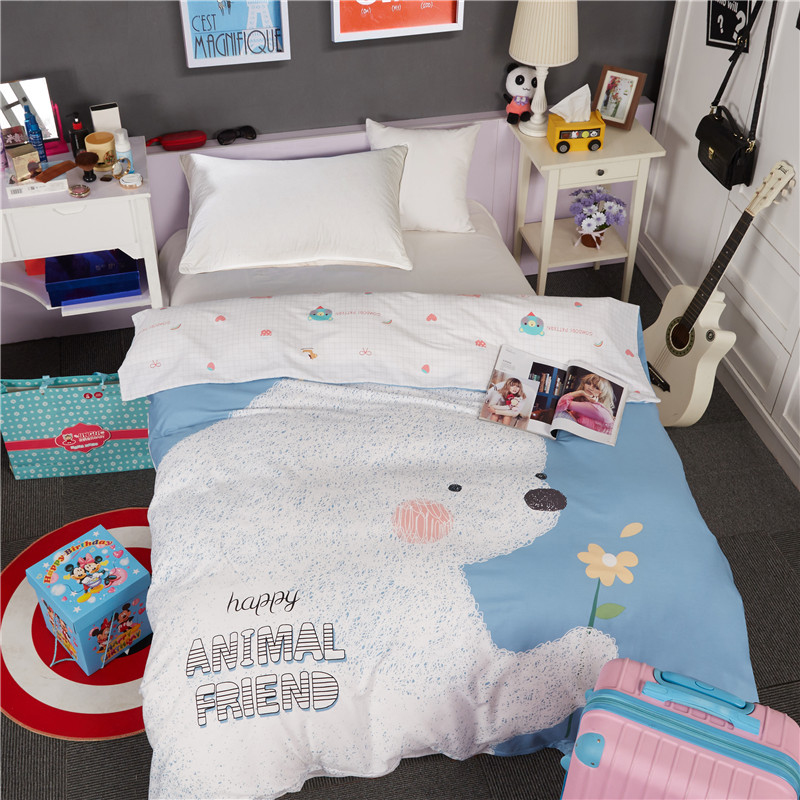 Home textile 1pc duvet cover no filling 100% cotton dog quilts cover cartoon Children comforter cover 2018 new bear bedding bag