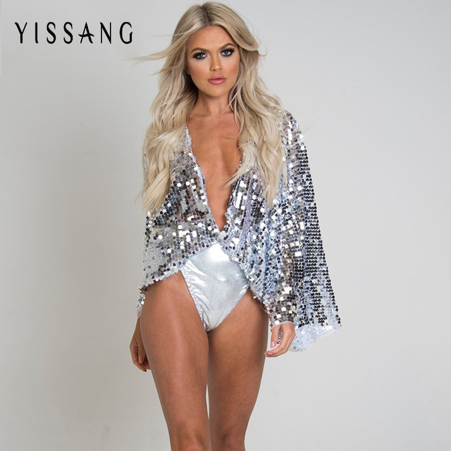 0eee97cd65b Yissang Sexy Sequins Long Sleeve Playsuits Women Fashion Deep V Neck Rompers  Summer 2018 Loose Casual Jumpsuit Club Overalls