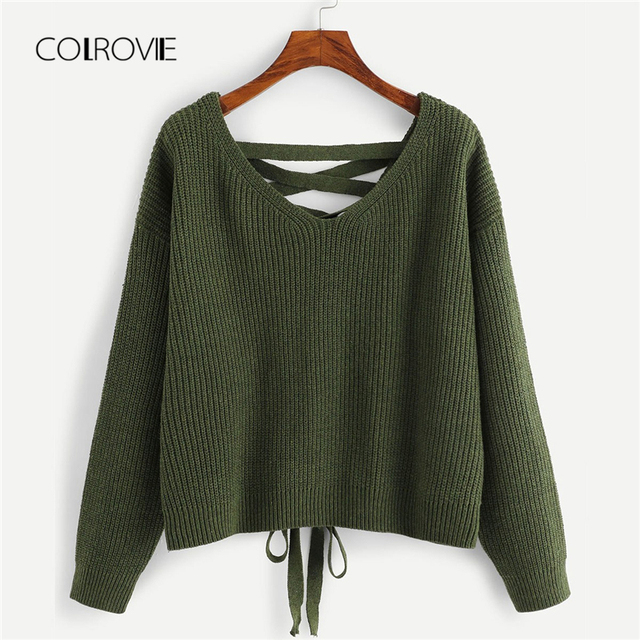 991995c855 COLROVIE Army Green Lace Up Back Casual Knitted Sweater 2018 Autumn V Neck  Female Jumper Pullovers