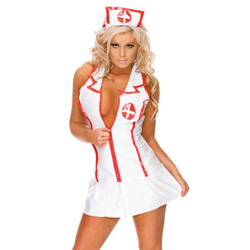 Buy 2016 Faux Leather Dresses Sexy Nurse Uniform Costume Nurse Lingerie z9002 sexy Uniform Costumes Women Plus Size XL