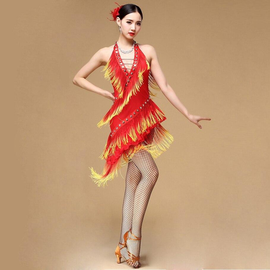 Nouveau 2018 Performance salle de bal danse Salsa danse robes avec glands Samba carnaval Costumes Latin danse robe femmes