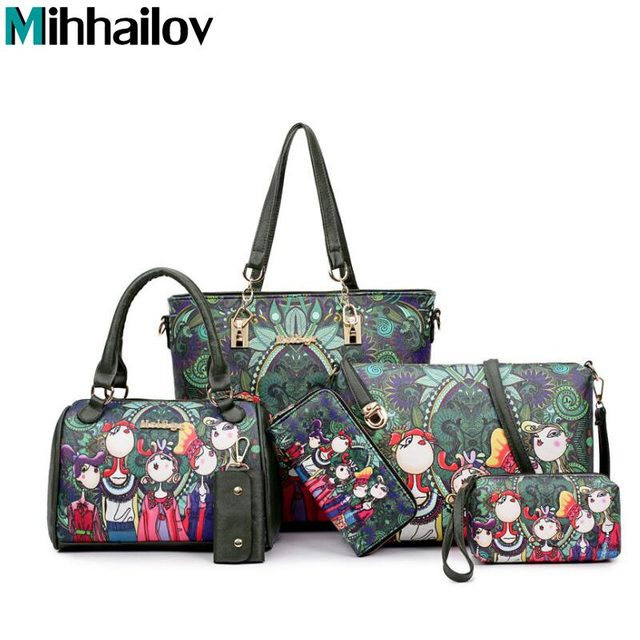 d6950ae91c2d Women Handbag Leather Female Bag Fashion Cartoon Shoulder Bag High Quality  6-Piece Set Designer