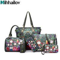 Women Handbag Leather Female Bag Fashion Cartoon Shoulder Bag High Quality 6 Piece Set Designer Brand
