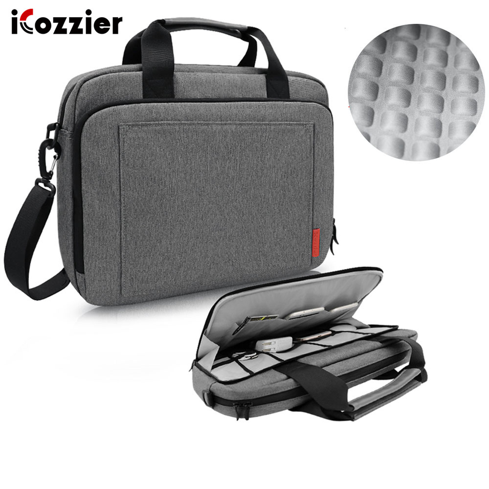 iCozzier Laptop Bag 15.6 13.3 inch Waterproof Notebook Bag for Mackbook Air Pro 13 15  Laptop Shoulder Handbag 13 14 15 inch-in Laptop Bags & Cases from Computer & Office