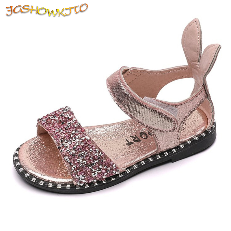 Fashion Kids Sandals For Toddlers Girls Big Children Bling Rhinestone Shiny With Rabbit Ear Soft Princess Sweet Beach Shoes Cute