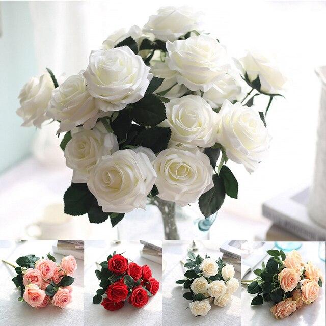 10 Head/Bouquet Artificial Flowers Rose Silk Flowers DIY Flower ...