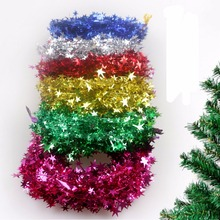 6 PCS/Set Xmas Baubles Indoor Home Christmas Tree Rattan Garlands  Decorations Color Bar Star Wire 7.5m Craft Supplies