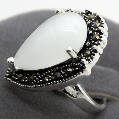 Nice Valentise Gift VINTAGE 13*25mm NANTURAL DROP WHITE OPAL RING SZ 7/8/9/10