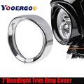 Для аксессуаров 7 дюймов черный/Хромированный налобный фонарь накладка кольцо для Touring Road King Electra Glide