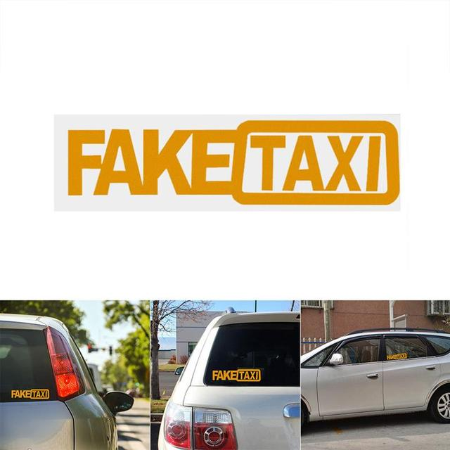 1pcs Car Styling Fake Taxi Car Decals Funny Reflective Car Stickers And Decals 20x5cm Window Auto
