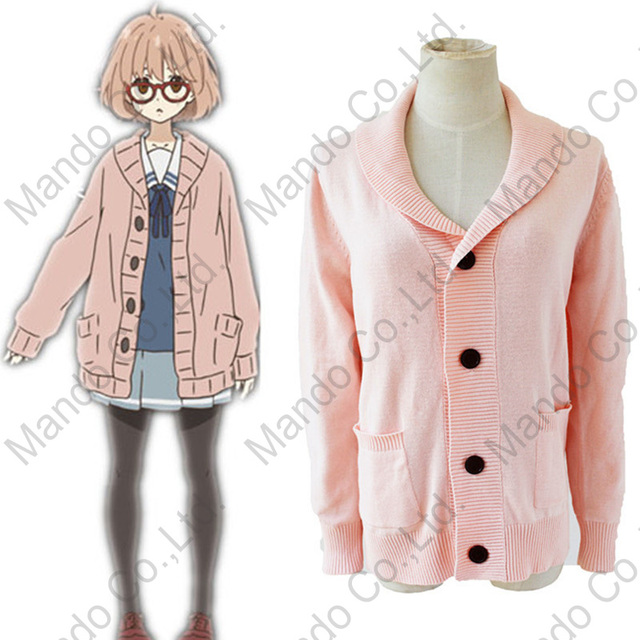 Anime Kyokai no kanata Kuriyama Mirai Cute Sweater Cosplay Costumes  Halloween Women girls pink winter sweater